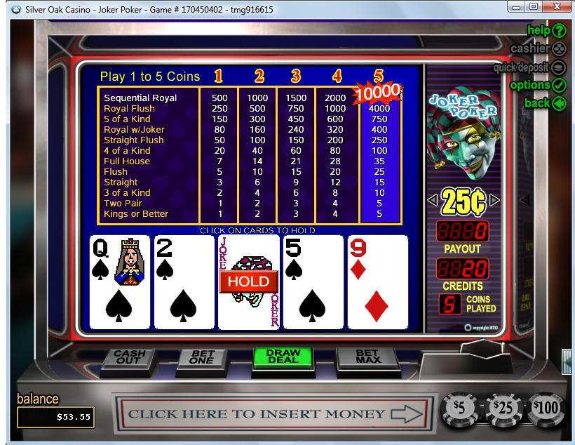 real casino slots online free joker poker