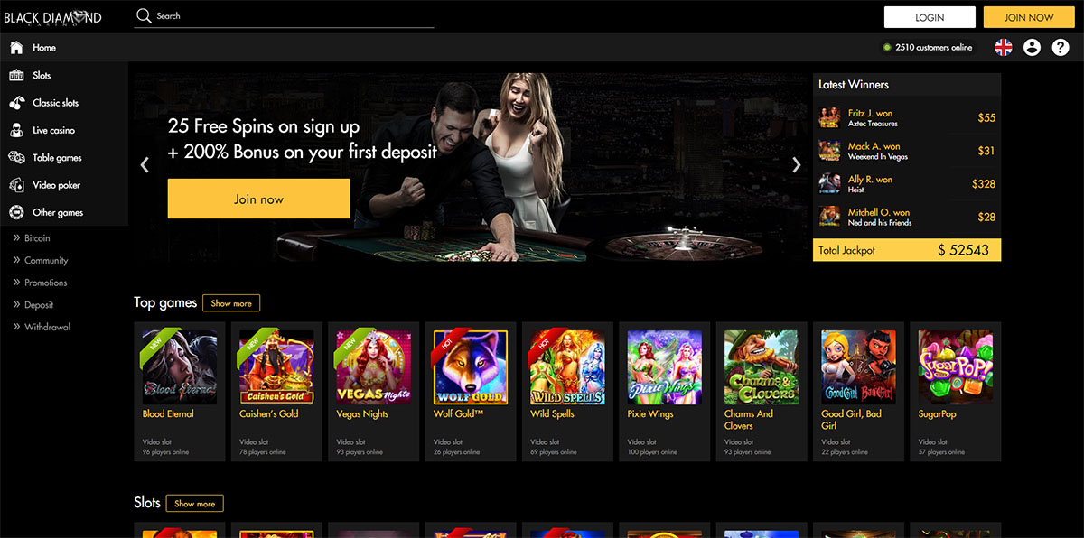 Black Diamond Casino Welcome Bonus