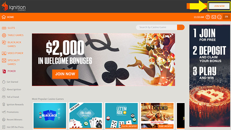 Join Ignition No Download Casino