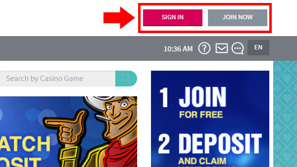 Log in or Sign Up at Slots lv casino