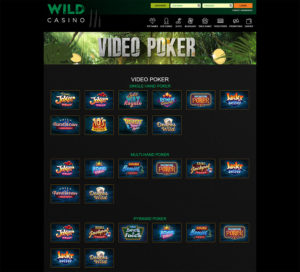 Wild Casino video poker games
