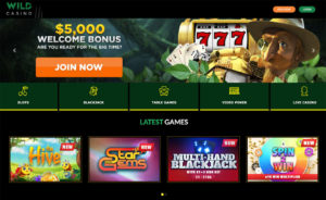 Wild Casino Homepage Screenshot with Welcome Bonus Banner