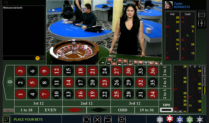 Live Dealer European Roulette at BetOnline