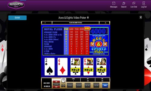 Video poker game at Jackpot City