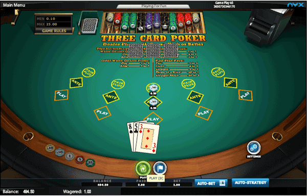 InterCasino 3 Card Poker