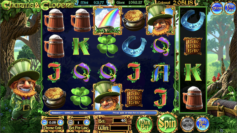 May the luck of the leprechaun be with you as you play CHARMS AND CLOVERS! Featuring exciting features such as an added BONUS REEL for more fun & POTS OF GOLD filled to the brim with wealth, there's never a dull moment in this clover-filled wonderland.Take your chances and find your fortune in CHARMS AND CLOVERS.Çan