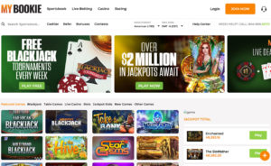 MyBookie Casino Homepage Screenshot with Promotion Banners