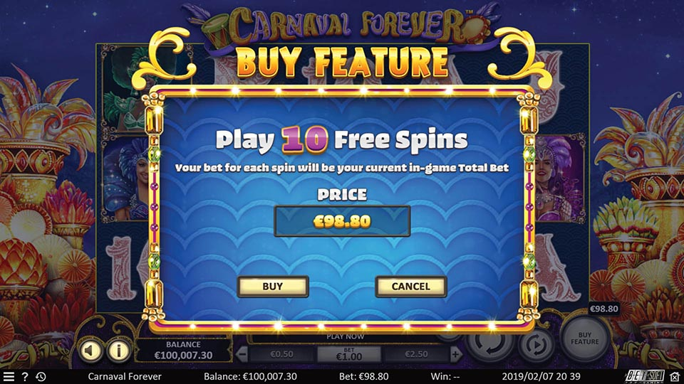 Carnaval Forever Online Slot Buy In Feature