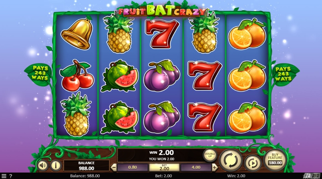 Fruitbat Crazy Online Slot Game Board
