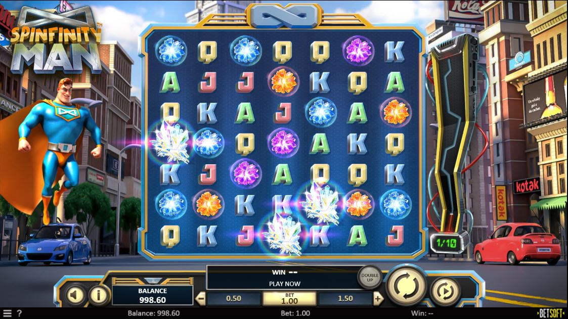 Spinfinity Man Online Slot Game Board