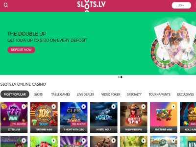 Slots.lv Online Casino Home Page