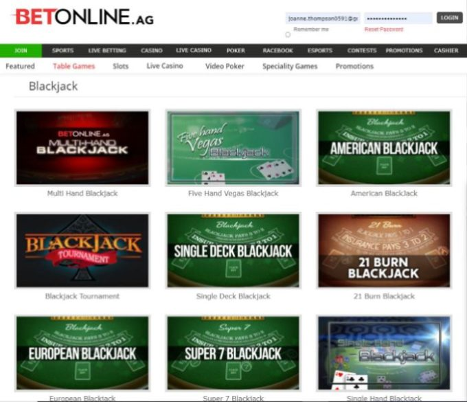 BetOnline Real Money Online Blackjack