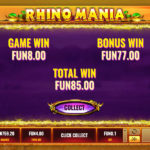 Real Money Online Slot Game Rhino Mania Bonus Win