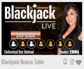 MyBookie Unlimited Bet Behind Live Blackjack
