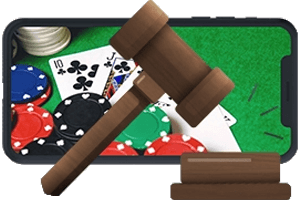 Legal Online Poker Sites Gavel with Mobile Phone