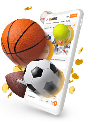 Online Sportsbook MyBookie on Mobile Phone with Game Balls