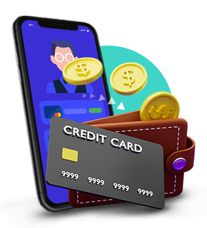 Casino Deposits Intro Icon with Phone Wallet and Credit Card