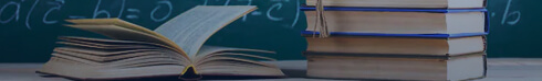 Education System Books and Chalkboard Banner