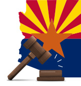 Arizona State Casino Laws Flag in Border with Gavel
