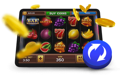 Online Slot Game Return to Player Icon with Coins