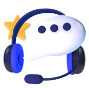 Online Casino eCheck Support Question Icon With Chat Bubble and Headset