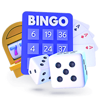Online Gambling at Casino Sites Slots Cards Dice and Bingo Icon