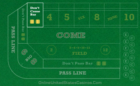Craps Table Layout Don't Come Area Highlighted