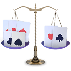 Balanced Pai Gow Poker Hands Scale with Cards