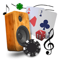 Casino Background Music With Speaker and Cards