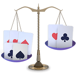 Off Balance Pai Gow Poker Hands Scale with Cards